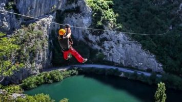 Great view from the last wire on the Zipline in Omiš